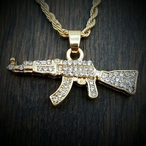 "14k Gold Plated ICED OUT 24"" Rifle Necklace"